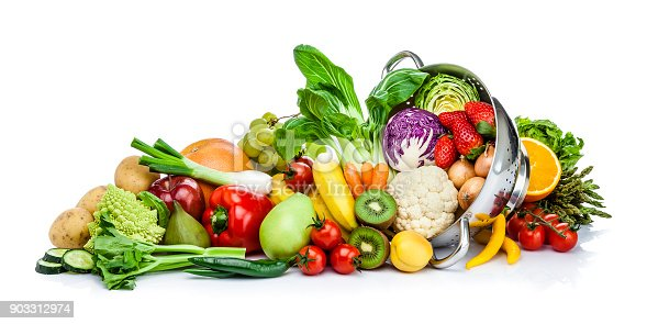 Front view of healthy fresh fruits and vegetables in a colander isolated on white background. Fruits and vegetables included in the composition are orange, kiwi, fig, banana, grape, strawberry, pear, apple, lettuce, bell pepper, onion, cucumber, cauliflower, broccoli, tomato, carrot, cabbage, corn and others. DSRL studio photo taken with Canon EOS 5D Mk II and Canon EF 70-200mm f/2.8L IS II USM Telephoto Zoom Lens