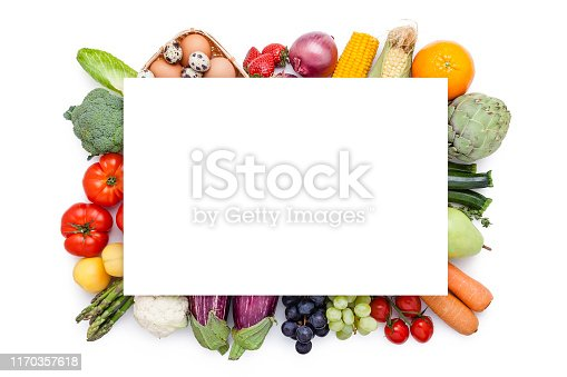 Top view of a multi colored group of healthy fresh organic fruits and vegetables isolated on white background. A blank card with useful copy space for text and/or logo is at the center of the frame on the vegetables group. Some of the vegetables included in the composition are oranges, strawberries, grape, pears, peach, tomatoes, bell peppers, onion, cabbage, asparagus, bok choy, potatoes, eggplant, edible mushrooms, carrots, broccoli, corn, celery, cauliflower, kale and chili peppers. DSRL studio photo taken with Canon EOS 5D Mk II and Canon EF 70-200mm f/2.8L IS II USM