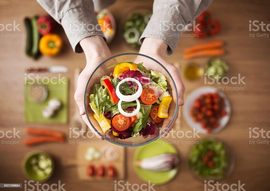 Healthy fresh homemade salad stock photo