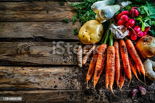 Healthy food backgrounds: multicolored fresh organic root vegetables shot from above on rustic wooden table. Root vegetables included in the composition are carrots, radish, onion, potatoes, garlic, ginger and turmeric. Some dirt is visible under the vegetables. The composition is at the right of an horizontal frame leaving useful copy space for text and/or logo at the left. High resolution 42Mp studio digital capture taken with SONY A7rII and Zeiss Batis 40mm F2.0 CF lens