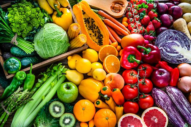 健康新鮮的彩虹色水果和蔬菜背景 - 清新 個照片及圖片檔