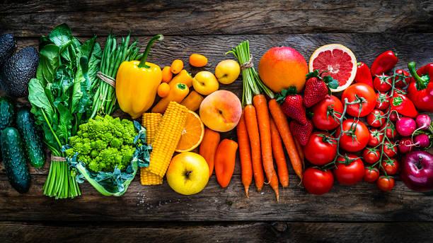 健康新鮮的彩虹色水果和蔬菜連續 - 清新 個照片及圖片檔