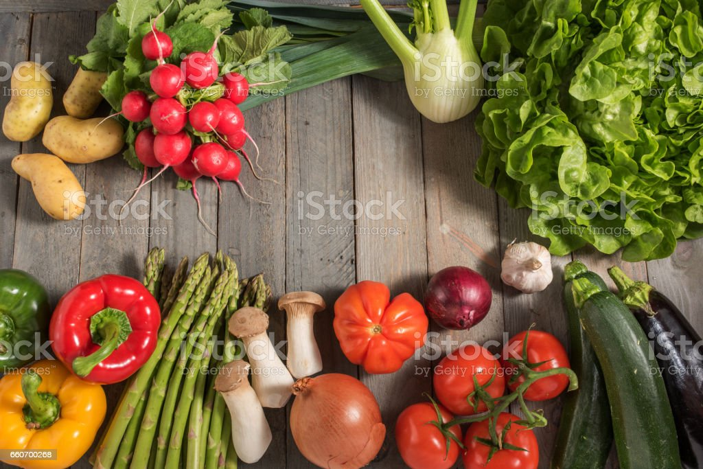 Healthy fresh vegetables on rustic wood stock photo
