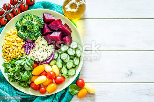 Healthy fresh vegetables salad shot from above on light green table. The composition is at the left of an horizontal frame leaving a useful copy space for text and/or logo at the right. Vegetables included in the salad are beetroot, tomatoes, avocado, cucumber, broccoli and corn. An olive oil bottle complete the composition. Predominant colors are green and red. Low key DSRL studio photo taken with Canon EOS 5D Mk II and Canon EF 100mm f/2.8L Macro IS USM.