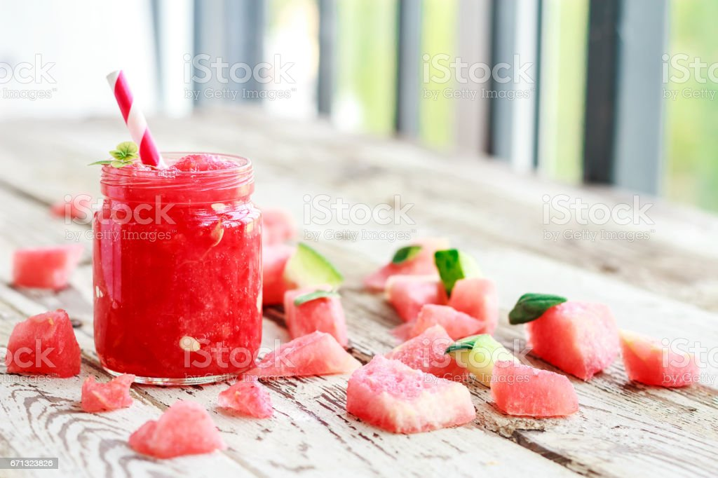 Healthy fresh watermelon smoothies with mint stock photo