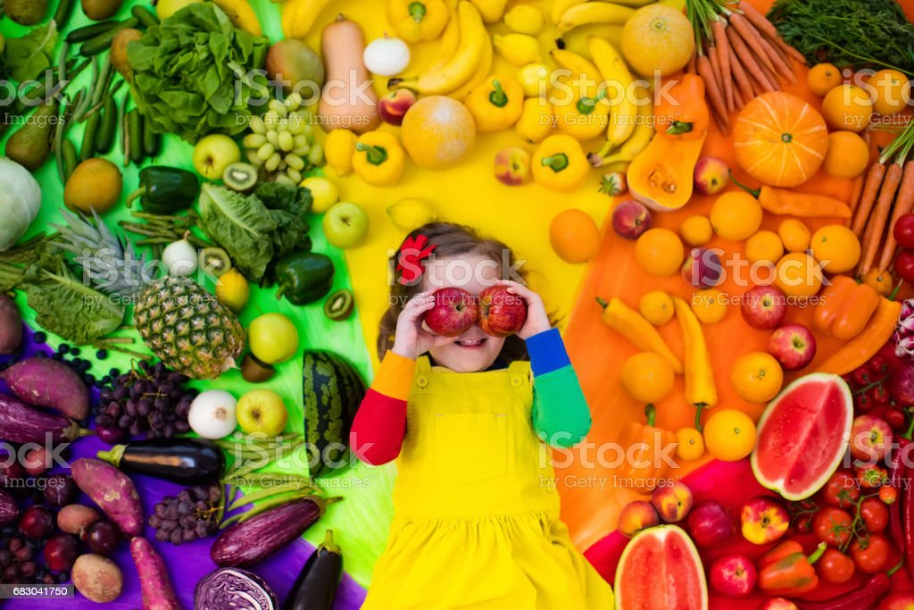 Healthy fruit and vegetable nutrition for kids foto de stock royalty-free