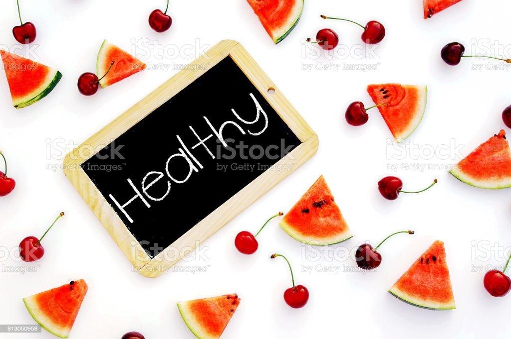 healthy fruit flat lay stock photo