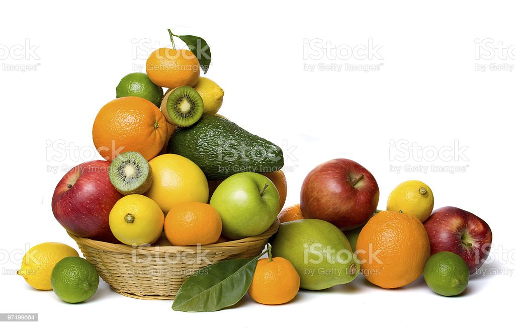 Healthy fruit isolated on white stock photo
