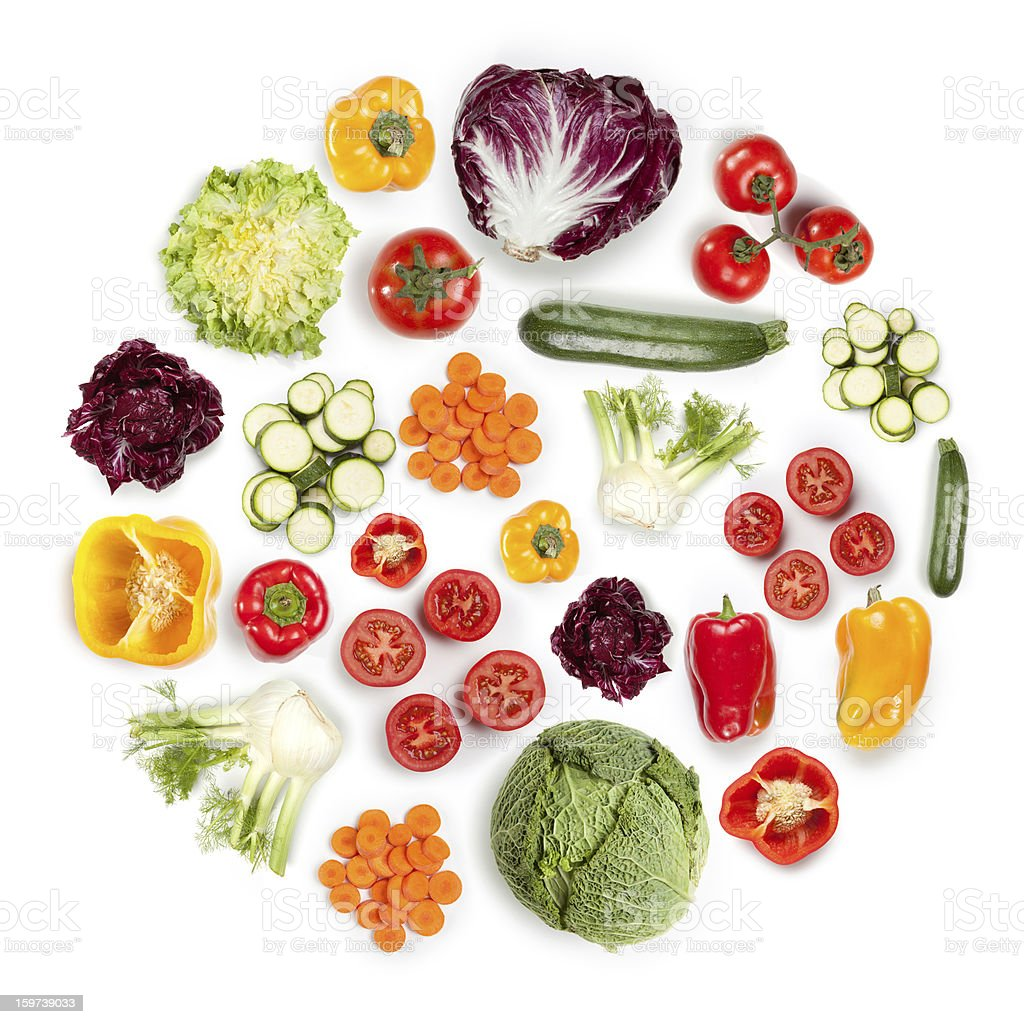 Healthy Fruits and Vegetables in round shape on white background stock photo