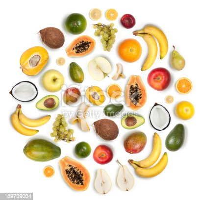 istock Healthy fruits arranged in a round composition on white background 159739034