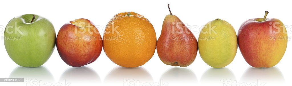 Healthy fruits like oranges, lemons and apples in row isolated stock photo