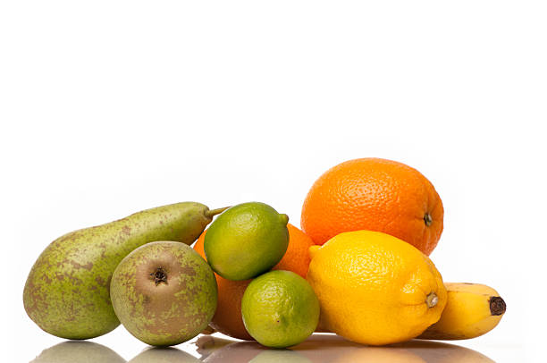 Healthy fruits on white background. stock photo