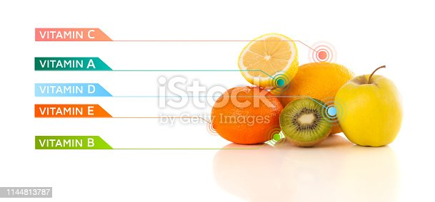 istock Healthy fruits with colorful vitamin symbols and icons 1144813787