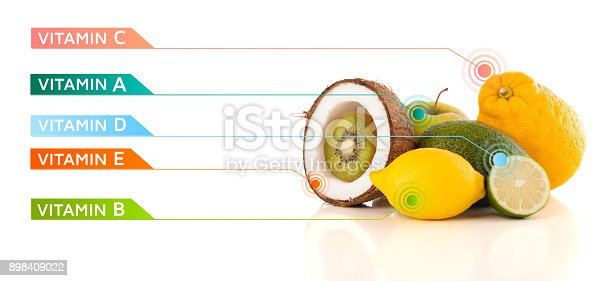 istock Healthy fruits with colorful vitamin symbols and icons 898409022