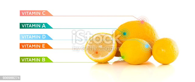 istock Healthy fruits with colorful vitamin symbols and icons 936988274