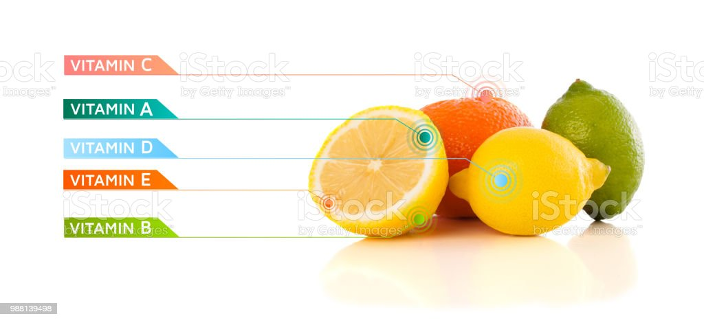 Healthy Fruits With Colorful Vitamin Symbols And Icons Stock Photo