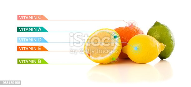 istock Healthy fruits with colorful vitamin symbols and icons 988139498