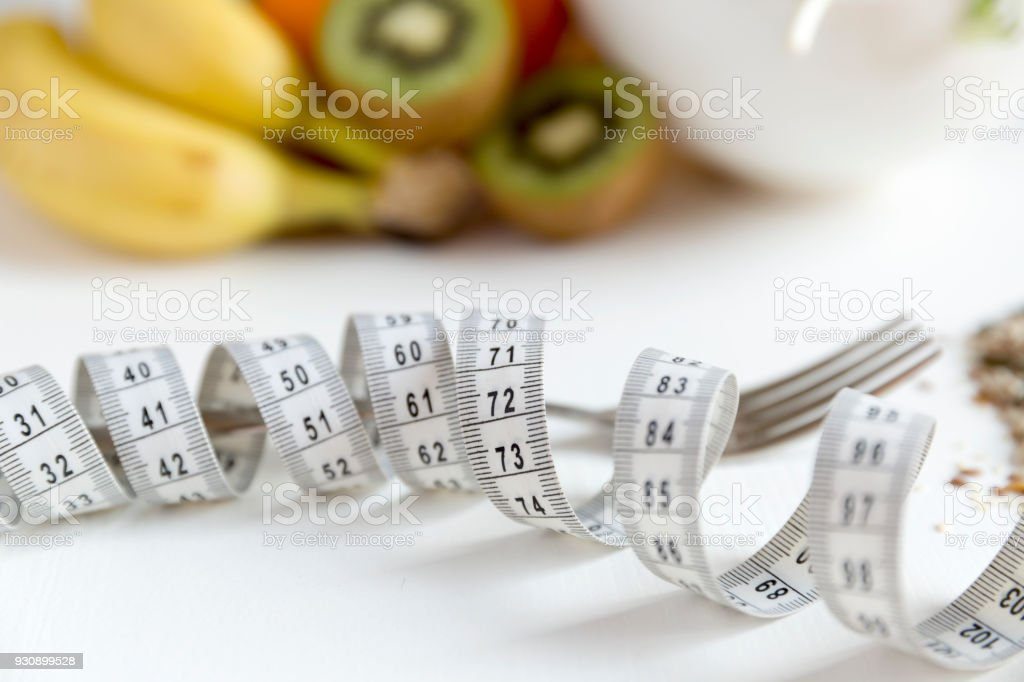 Admirable Healthy Fruitvegetables And Measuring Tape Around The Fork Download Free Architecture Designs Scobabritishbridgeorg
