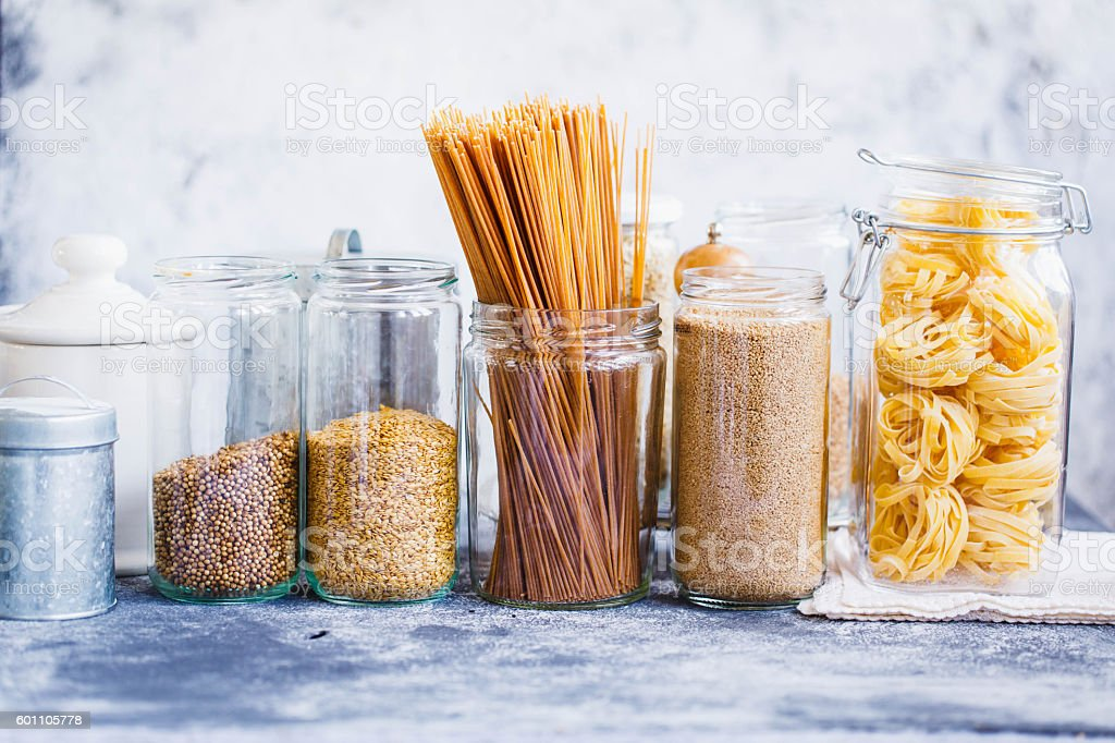 Healthy grains and pasta food selection. stock photo