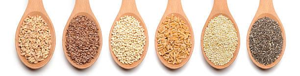 healthy grains and seeds on white background - ancient white background bildbanksfoton och bilder