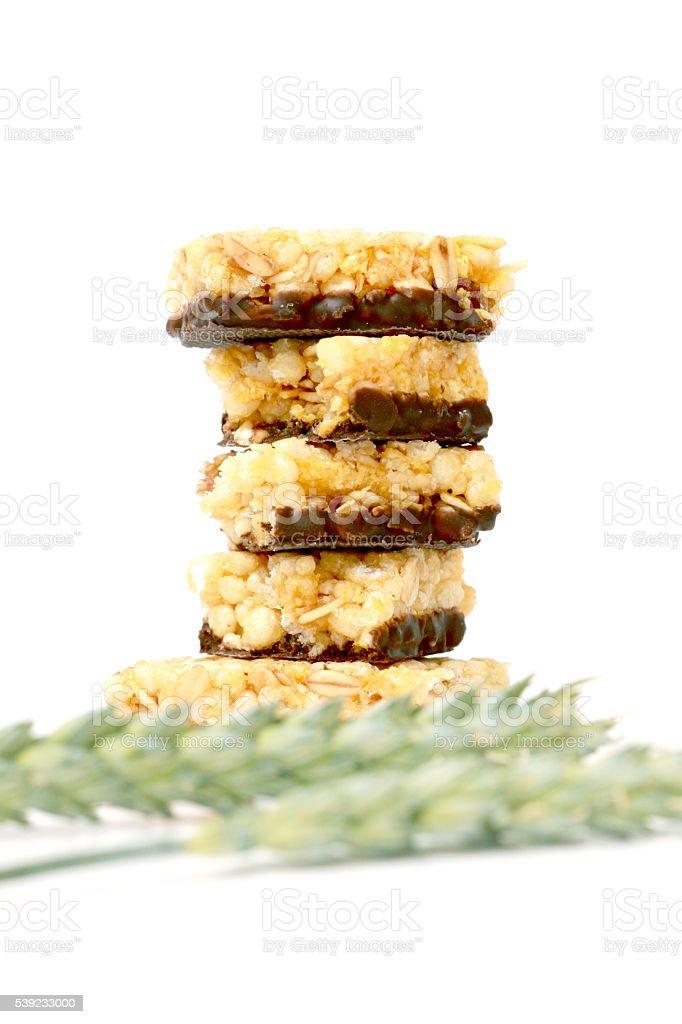 Healthy granola bar on white background royalty-free stock photo