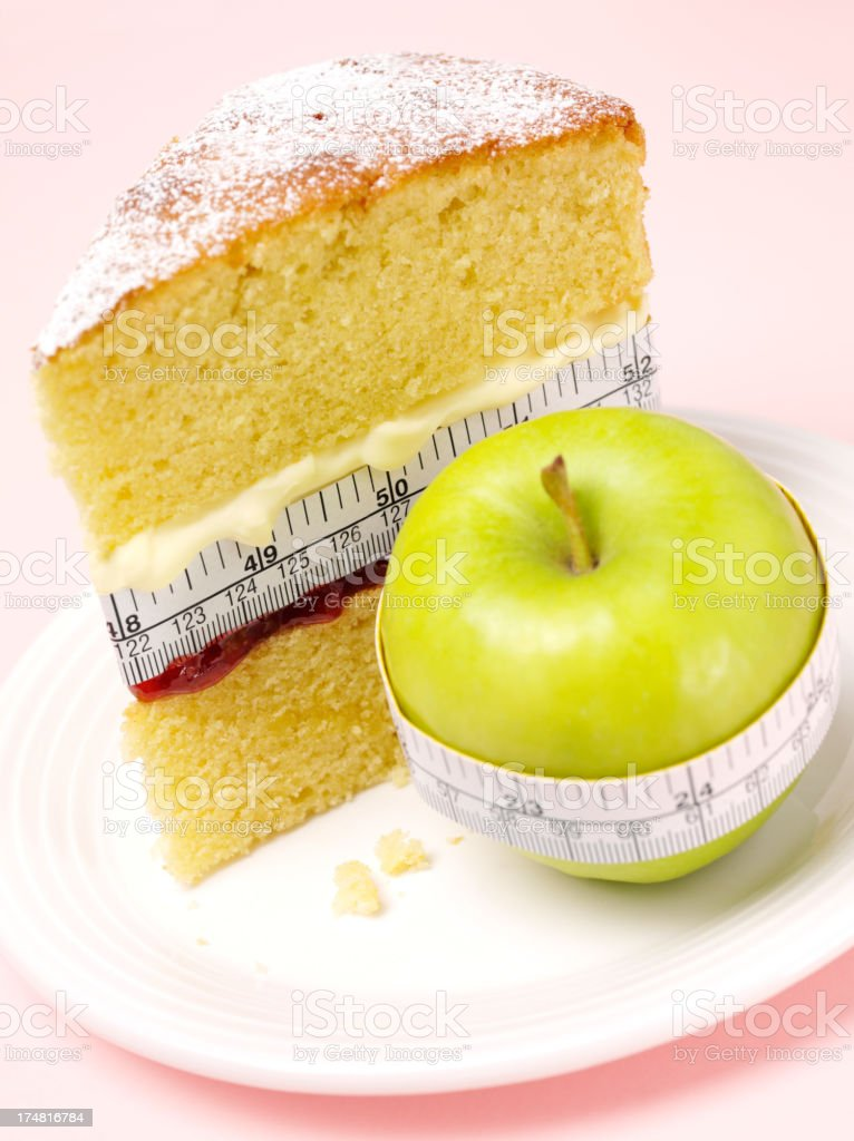 Healthy Green Apple and Calories in a Sponge Cake royalty-free stock photo