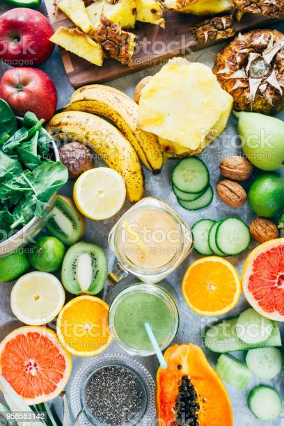 Healthy Green Detox Smoothie Drink Stock Photo - Download Image Now