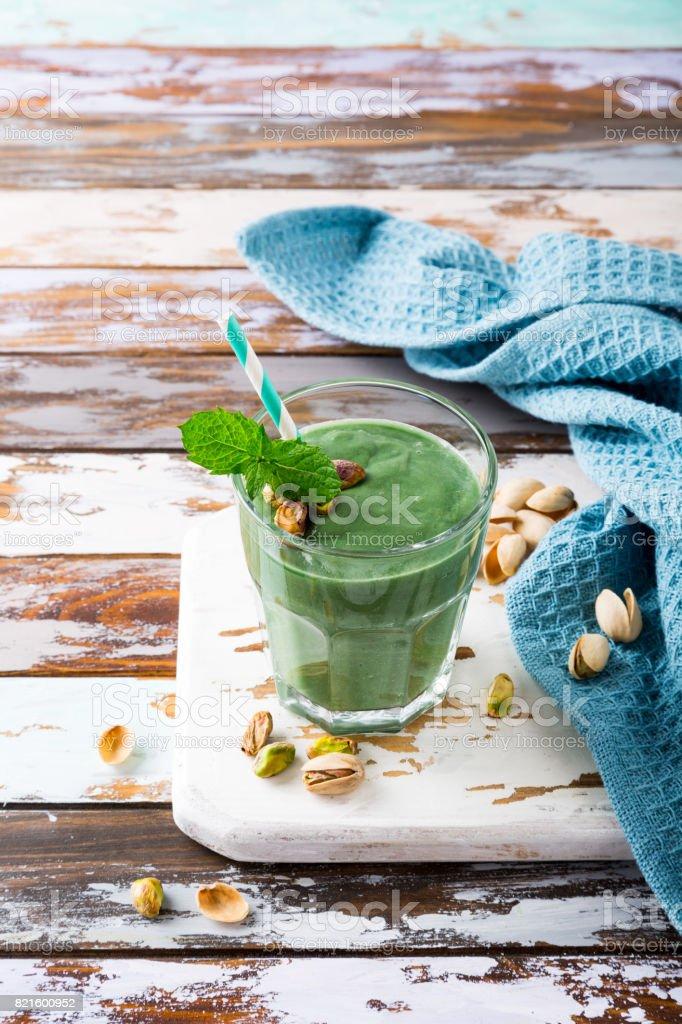 Healthy green pistachios smoothie stock photo
