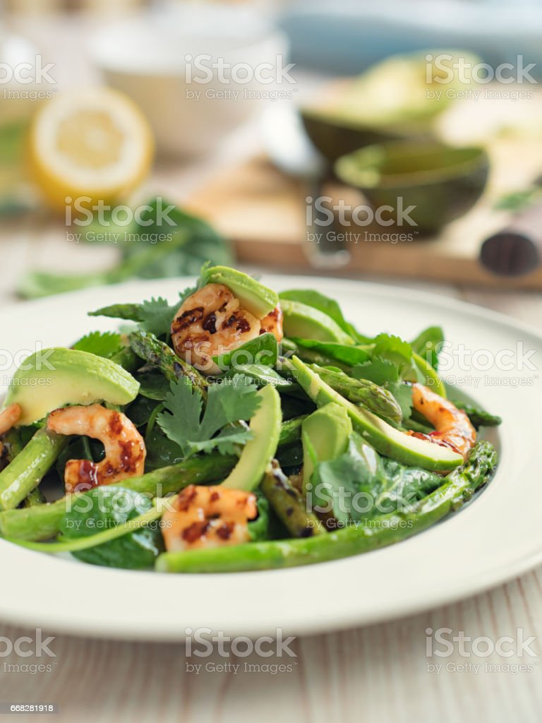 Healthy green salad with grilled king prawn stock photo
