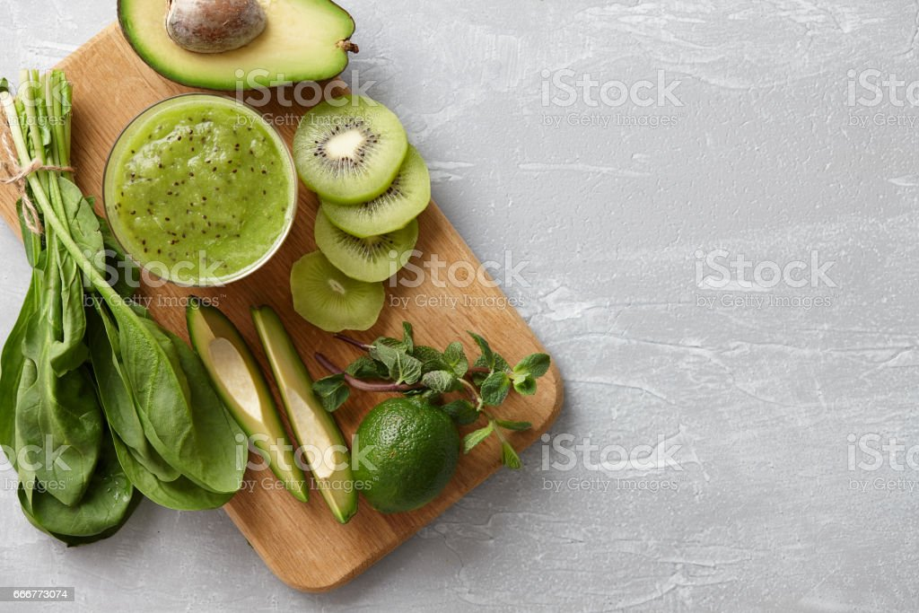 Healthy green smoothie ingredients foto stock royalty-free