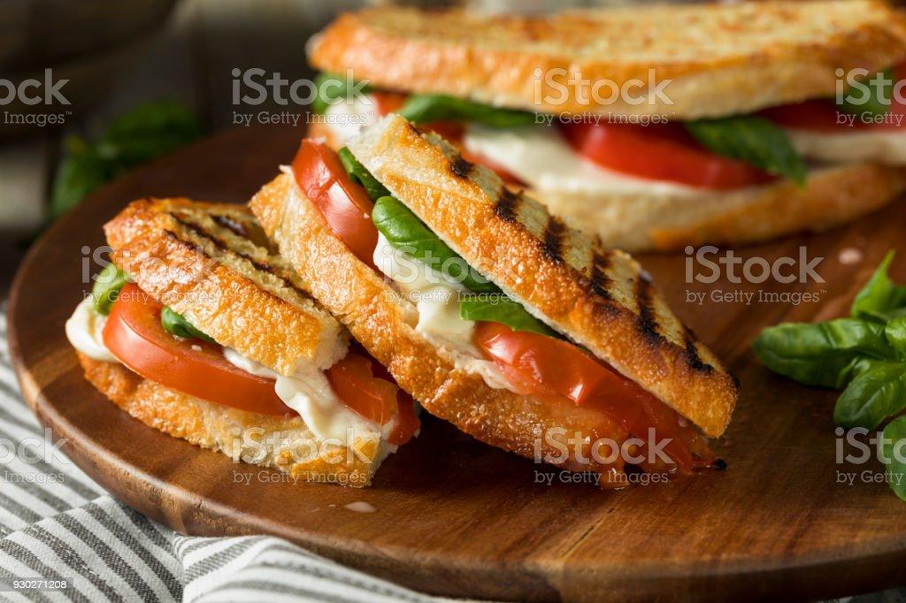 健康烤羅勒乾酪 Caprese 帕尼尼 - 免版稅三文治圖庫照片