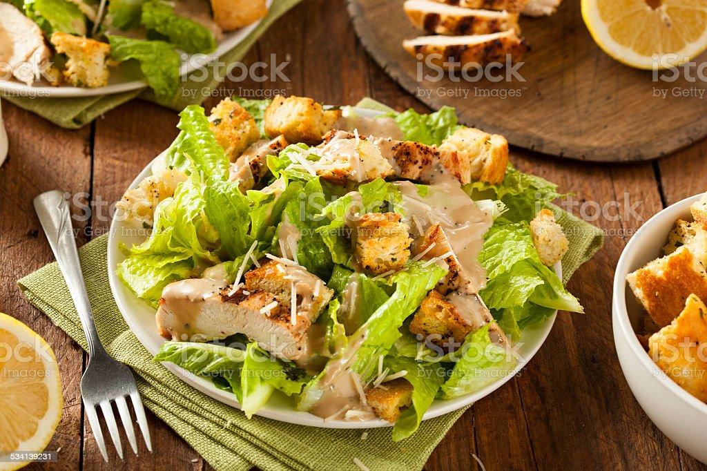 Healthy Grilled Chicken Caesar Salad Healthy Grilled Chicken Caesar Salad with Cheese and Croutons 2015 Stock Photo