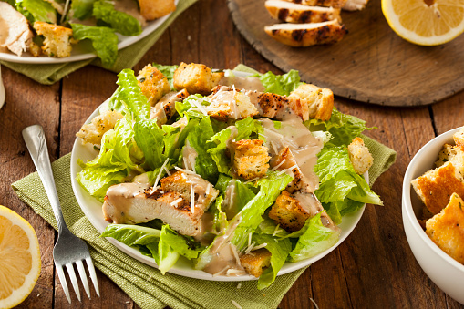 Healthy Grilled Chicken Caesar Salad Stock Photo - Download Image Now