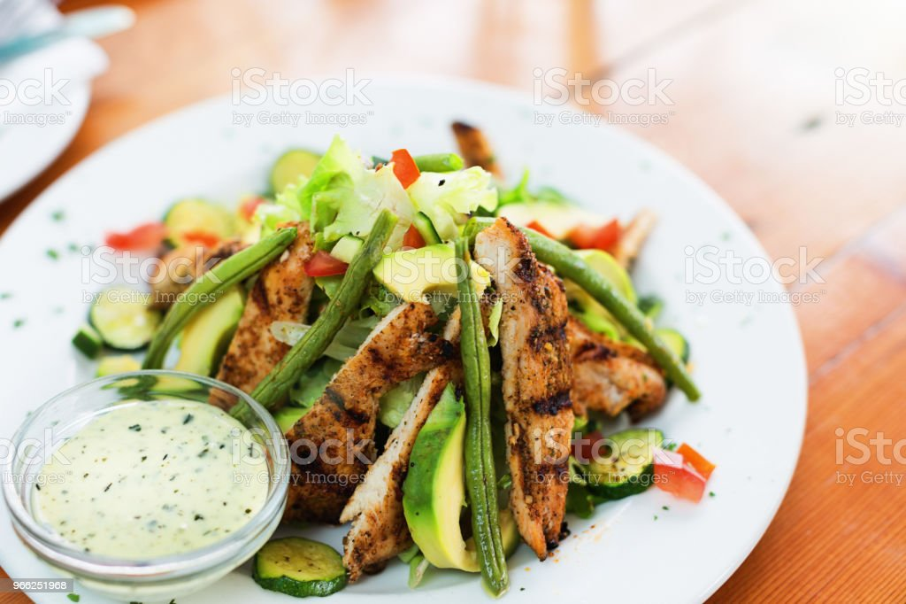 Healthy grilled chicken salad stock photo