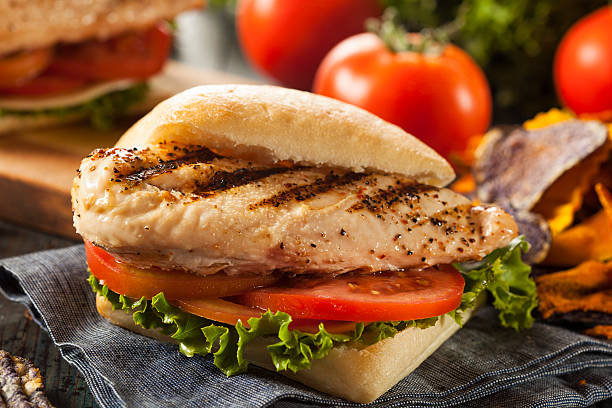 Healthy Grilled Chicken Sandwich Healthy Grilled Chicken Sandwich with Veggie Chips grilled chicken breast stock pictures, royalty-free photos & images
