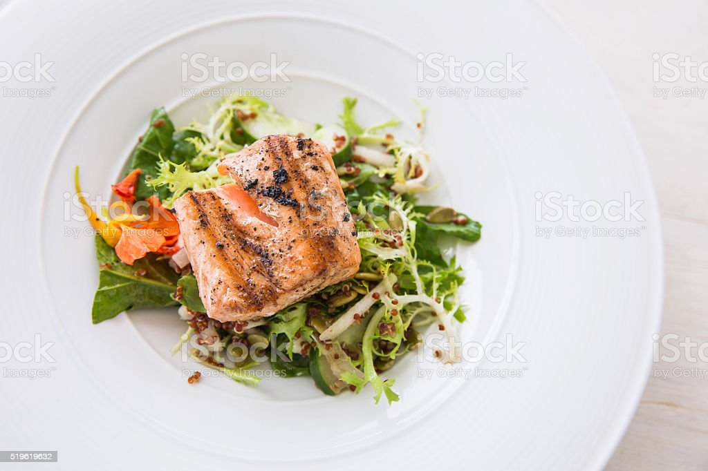 Healthy grilled fish for dinner stock photo