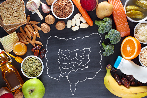 Natural products for healthy bowel. Top view