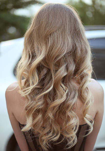 healthy hair. curly long hairstyle. back view of blond hairs - chica rubia espaldas fotografías e imágenes de stock