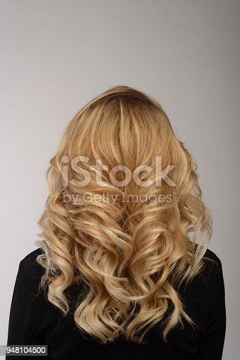 Healthy Hair Curly Long Hairstyle Back View Of Blond Hairs Stock