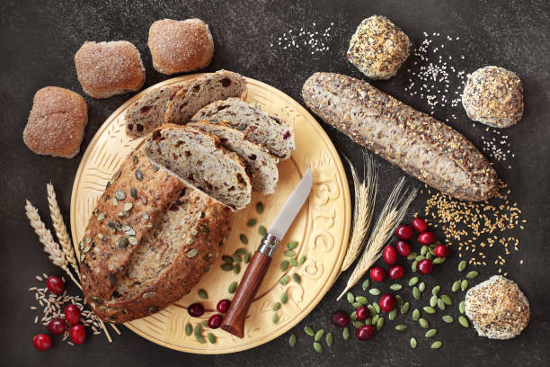 Healthy High Fibre Rye Bread and Seeded Rolls stock photo
