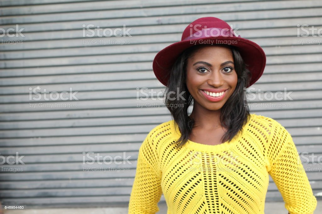 Healthy hip African woman showing happiness stock photo