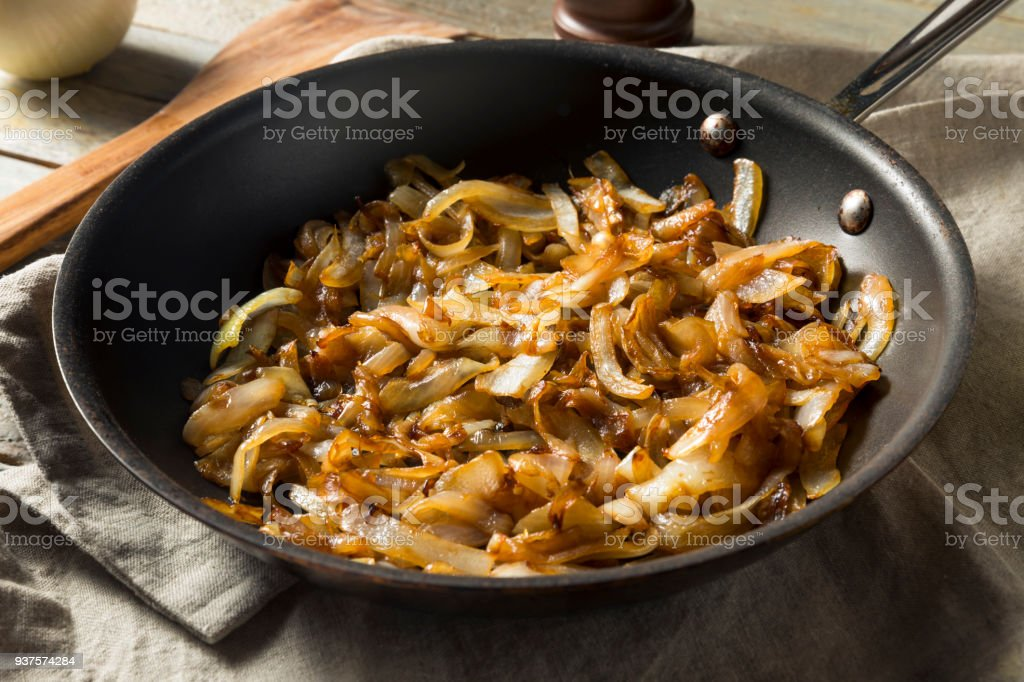 Healthy Homemade Caramelized Onions stock photo