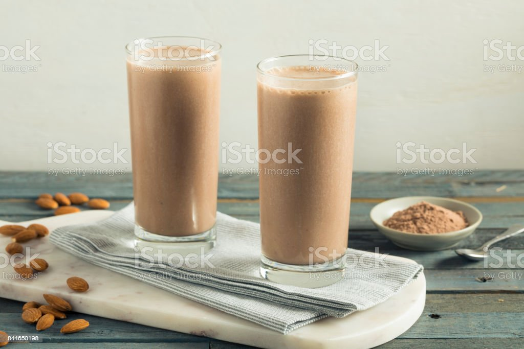Healthy Homemade Chocolate Protein Shake stock photo