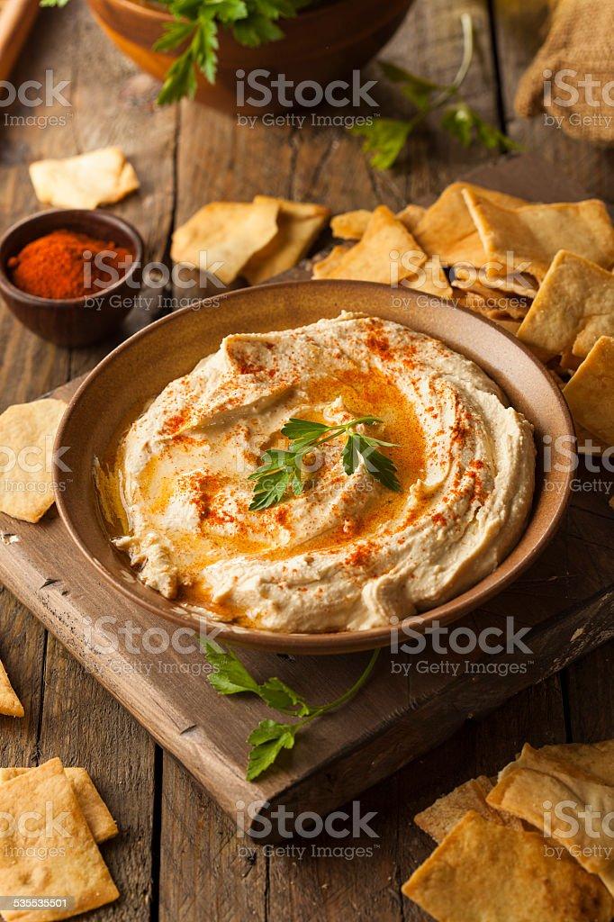 Healthy Homemade Creamy Hummus stock photo