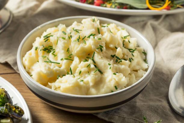 Healthy Homemade Mashed Potatoes stock photo