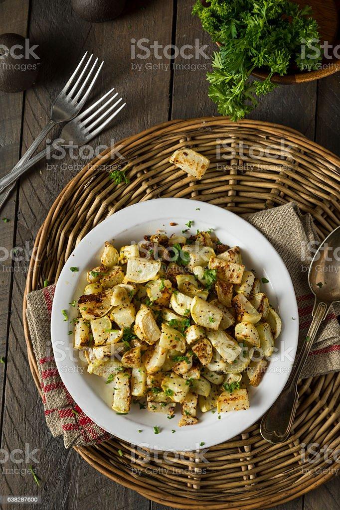Healthy Homemade Roasted Kohlrabi stock photo