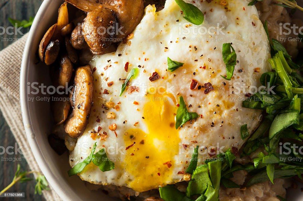 Healthy Homemade Savory Oatmeal stock photo