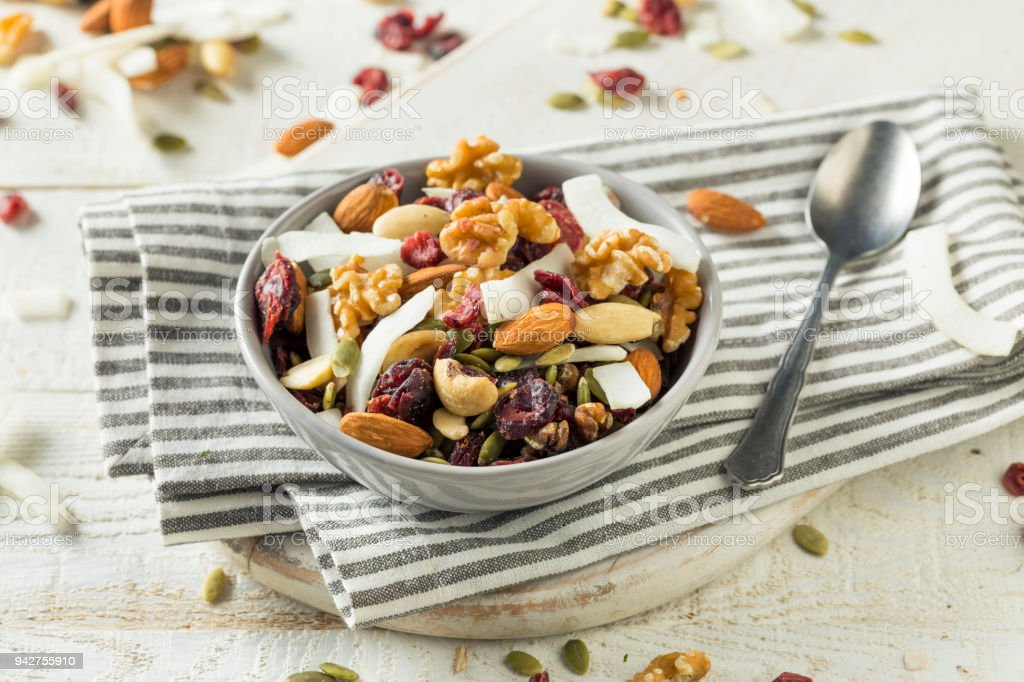 Healthy Homemade Superfood Trail Mix stock photo