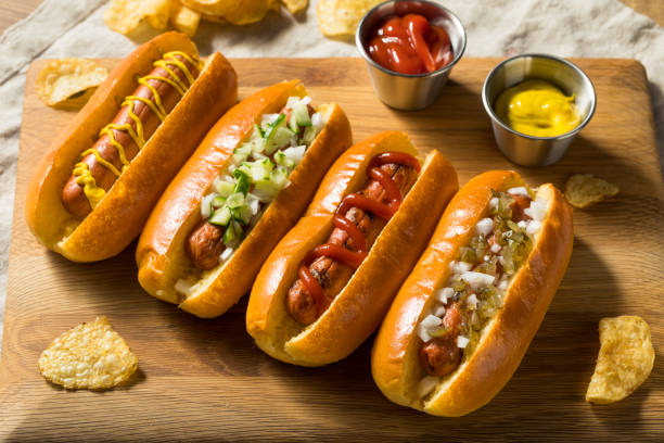 Healthy Homemade Turkey Hot Dogs stock photo