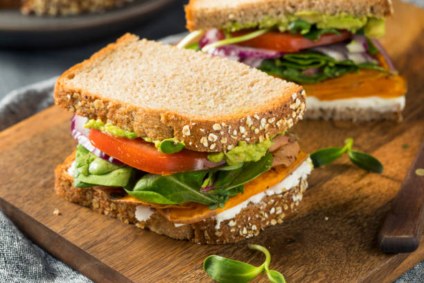 Healthy Homemade Vegetarian Veggie Sandwich stock photo